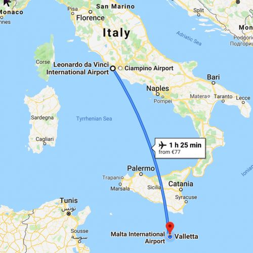 Map - Rome to Valletta