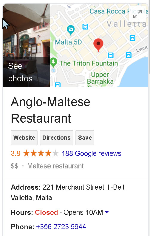 Anglo Maltese League Restaurant