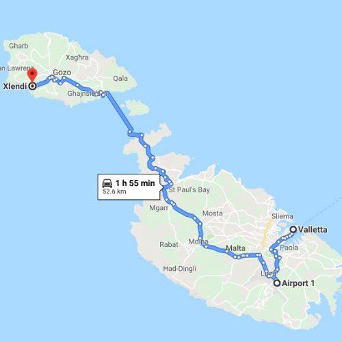 map-Valletta to Xlendi